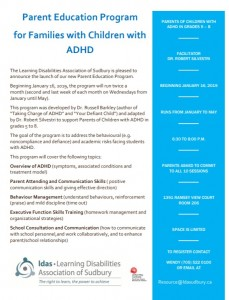 Parent Education Program for Families with Children with ADHD flyer